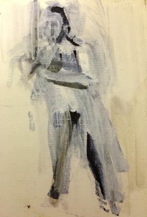 TINY FIGURE 1 JONATHAN ELLIS Marker on canvasboard 8 x 11.5 cm October 2014