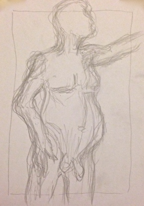 Giacometti exercise 1 MANDY pencil on paper A5 7 December 2014