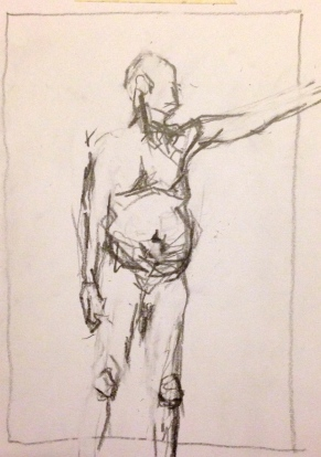 Giacometti exercise 1 TOM pencil on paper A5 7 December 2014