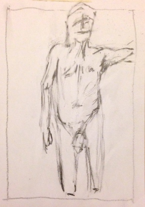 Giacometti exercise 1 CAROLINE pencil on paper A5 7 December 2014