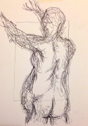 Giacometti exercise 2 MANDY ball-point on paper A5 7 December 2014