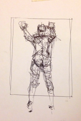 Giacometti exercise 2 TOM ball-point on paper A5 7 December 2014