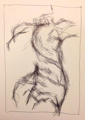 Giacometti exercise 2 EILEEN ball-point on paper A5 7 December 2014