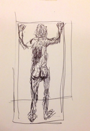Giacometti exercise 2 CAROLINE ball-point on paper A5 7 December 2014