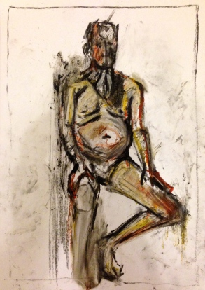 Giacometti exercise 3 TOM charcoal, oil bar & oil pastel on paper A3 7 December 2014