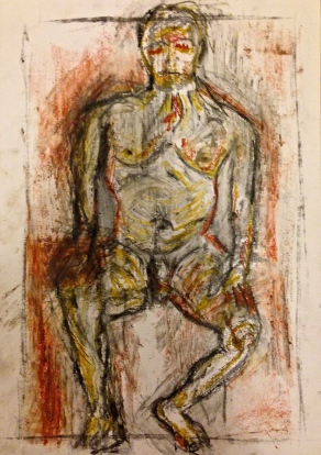 Giacometti exercise 3 CAROLINE charcoal, oil bar & oil pastel on paper A3 7 December 2014