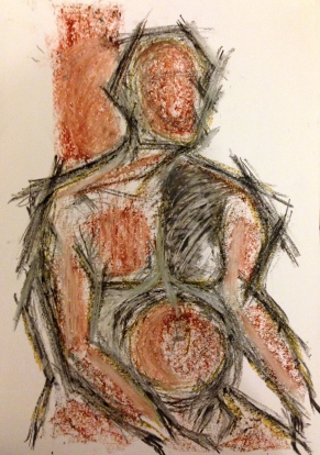 Giacometti exercise 3 MANDY charcoal, oil bar & oil pastel on paper A3 7 December 2014