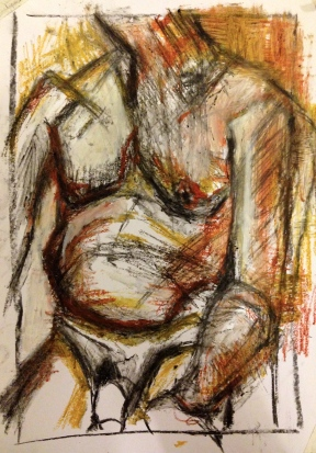 Giacometti exercise 3 EILEEN charcoal, oil bar & oil pastel on paper A3 7 December 2014