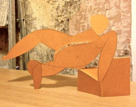 Folding Picasso CAROLINE scored & folded card 4 January 2014