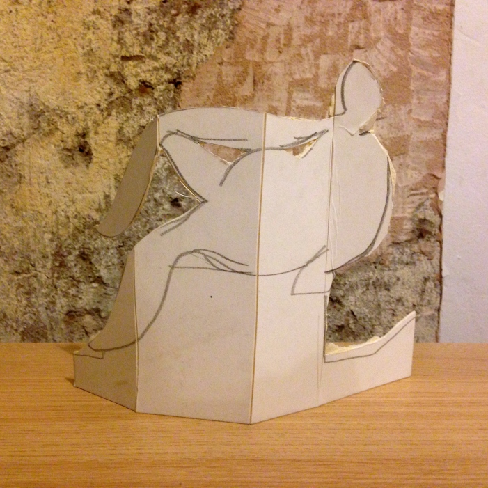 Folding Picasso EILEEN scored & folded white card 4 January 2014