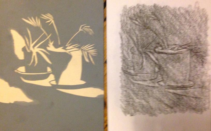 Still Life LIZ cut card & graphite 1 February 2015