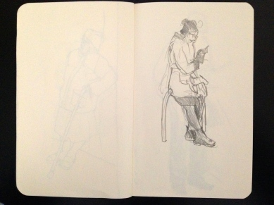 Outside the surgery 2 London People sketchbook page 10 JONATHAN ELLIS March 2015
