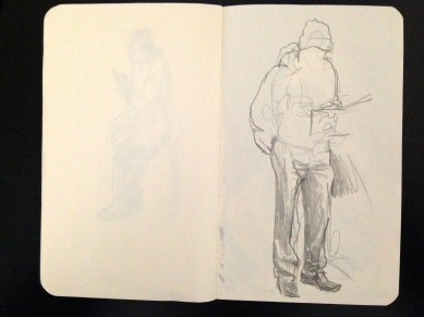 Outside the surgery 3 London People sketchbook page 11 JONATHAN ELLIS March 2015