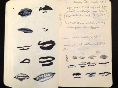 Dumas mouths, Tate Modern London People sketchbook page 24 JONATHAN ELLIS March 2015