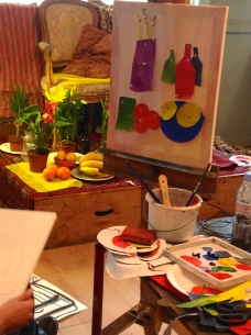 Oranges & other colours: painting with collage