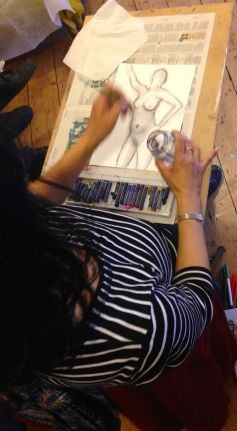 Artists using oil pastels at the Hornbeam 12 April 2015